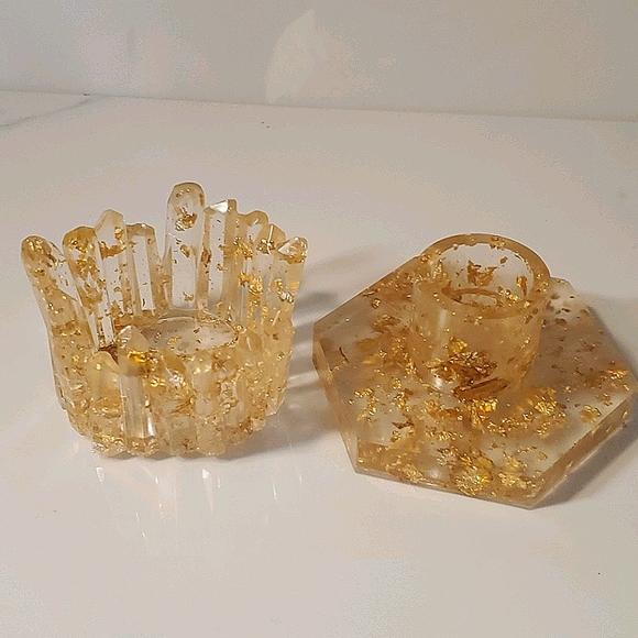 Gold Resin candle holder set